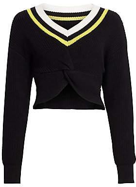 Alexander Wang Women's Cropped Ribbed-Knit Varsity Sweater