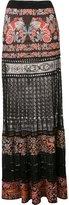 Roberto Cavalli lace insert jacquard skirt
