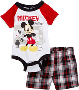 Children's Apparel Network Mickey Mouse Red Bodysuit & Black Plaid Shorts - Infant