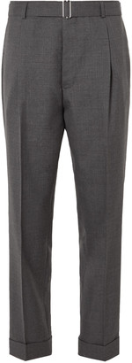 Officine Generale Hugo Tapered Pleated Belted Wool Trousers