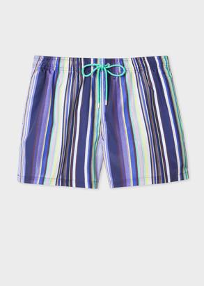 Paul Smith Men's Purple And Navy Stripe Swim Shorts