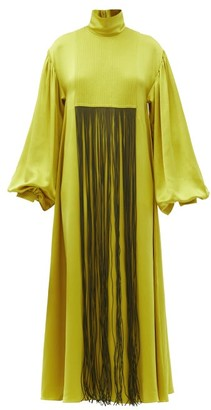 Roksanda Zina Fringed Silk-satin Dress - Yellow/black