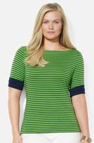 Lauren Ralph Lauren Stripe Boatneck Top (Plus)