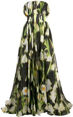 Carolina Herrera floral-print A-line gown
