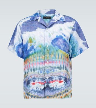 Amiri Tie-dye short-sleeved silk shirt