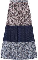 Miguelina Lillian Crochet-paneled Floral-print Cotton-voile Skirt - Plum