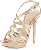 Pelle Moda Farah 2 Strappy Leather Sandal, Platinum Gold