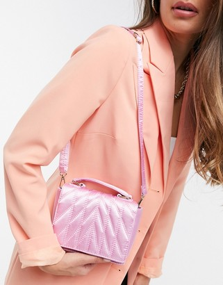 ASOS DESIGN quilted satin satchel bag in lilac