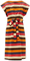 Colville - Striped Drawstring-waist Cotton-poplin Dress - Womens - Multi
