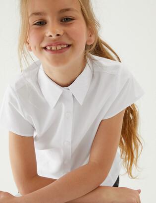 Marks and Spencer 2pk Girls' Cap Sleeve Easy Iron School Blouses