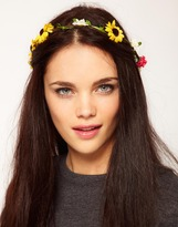 Multi Floral Garland Head Band With Dangle Floral
