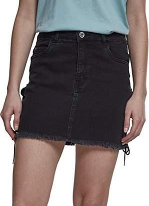 Urban Classic Women's Ladies Denim Lace Up Skirt Black Washed 00709, 12 UK(Size: 28)