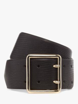 Hobbs Courtney Lizard Embossed Leather Belt, Black