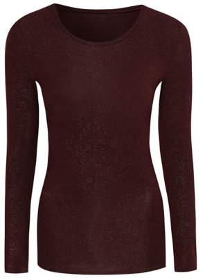 George Thermal Burgundy Glitter Long Sleeve T-Shirt