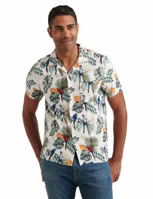 Lucky Brand Men's Short Sleeve Button Up Floral Club Collar Shirt