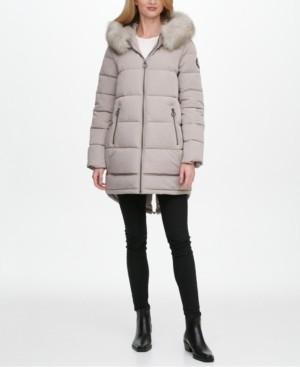 DKNY Petite Faux-Fur Trim Hooded Puffer Coat