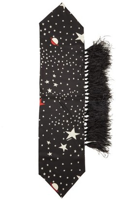 Valentino Star-print And Feather Silk Scarf - Black White