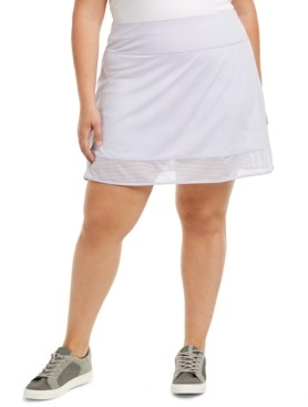 Ideology Plus Size Shadow-Stripe Skort, Created for Macy's