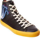 Gucci Serpent Embroidered High Top Leather Sneaker