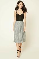 Forever 21 Abstract Crinkled Midi Skirt