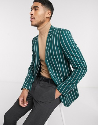 ASOS DESIGN super skinny blazer in forest green stripe with gold buttons