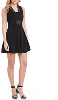 Gianni Bini Sloan Crochet Trim V-Neck A Line Dress