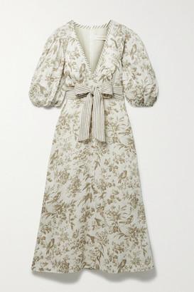 Zimmermann Belted Floral-print Linen Midi Dress - Ivory
