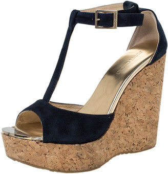 Jimmy Choo Blue Suede Pela Cork Wedge Ankle Strap Platform Sandals Size 37.5