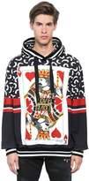 Dolce & Gabbana Hooded Cards Printed Cotton Sweatshirt