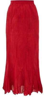 Mes Demoiselles Casta Pleated Cotton Midi Skirt - Womens - Red