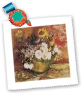 3dRose qs_128115_3 BLN Vincent Van Gogh Collection - Bowl of Sunflowers, Roses and Other Flowers by Vincent Van Gogh - Quilt Squares