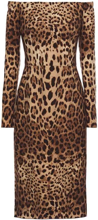 Dolce & Gabbana Off-the-shoulder Leopard-print Crepe Dress