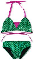 DAXIANG 2 Pcs Charming Girls Bling Bling Fish Scales Mermaid Swimwear Bikini Tankinis