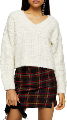 Topshop Self Stripe V-Neck Sweater