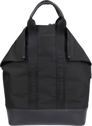 Alexander McQueen Leather-trimmed Tote Backpack