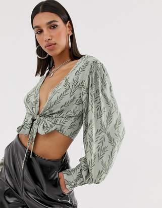 NA-KD Na Kd wrap front cropped flower print blouse in green
