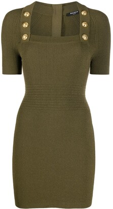 Balmain Button-Detail Knit Dress