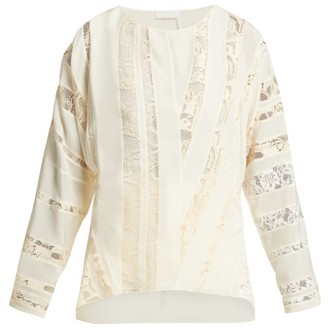 Chloé Chantilly-lace Silk-crepe Blouse - Womens - Ivory