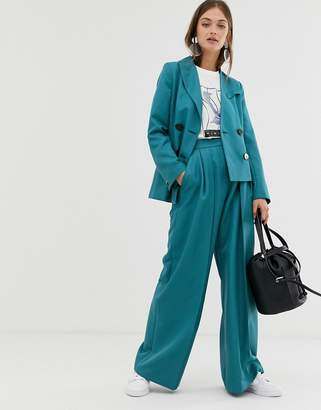 Asos suit pants with a pleat detail-Green