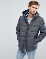 Tommy Hilfiger Down Puffer Jacket Detachable Hood In Textured Grey