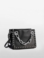 Calvin Klein Platinum Flared Pierced Small Satchel