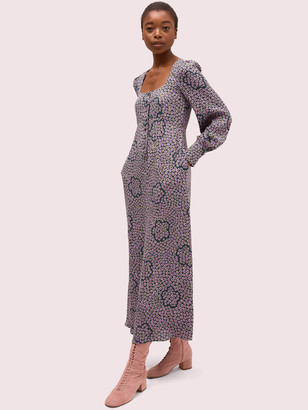 Kate Spade Flair Flora Crepe Midi Dress