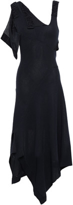 Victoria Beckham Asymmetric Draped Metallic Stretch-knit Dress