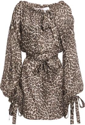 Zimmermann Suraya Belted Tie-detailed Leopard-print Silk Crepe De Chine Mini Dress