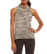 Calvin Klein Faux-Wrap Hi-Low Hem Leopard Print Chiffon Halter Top