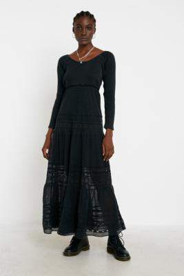 Free People Earth Angel Maxi Dress - black UK 8 at Urban Outfitters