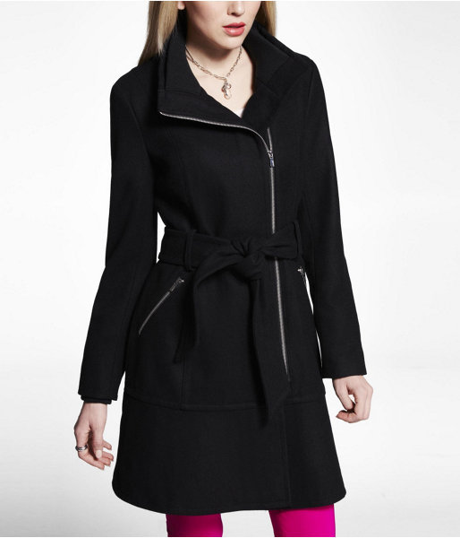 Express Rib Trim Asymmetrical Zip Coat