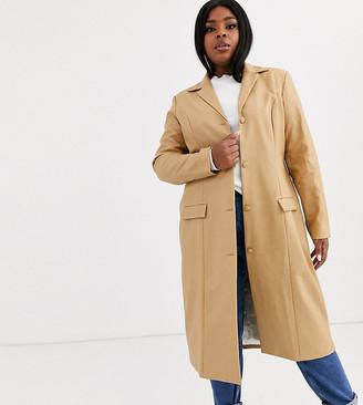 Unique 21 Hero Plus UNIQUE21 Hero Plus longline jacket in vintage faux leather-Beige