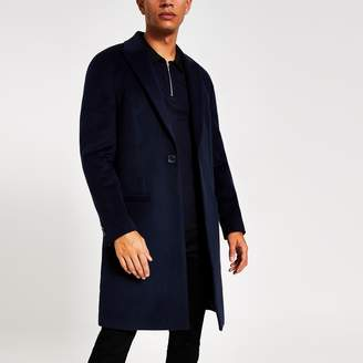 River Island Mens Dark Navy single breasted overcoat