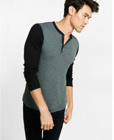 Express ribbed color blocked long sleeve henley